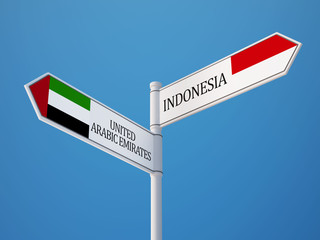 Indonesia United Arab Emirates.  Sign Flags Concept