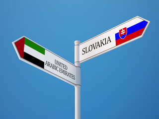 Slovakia United Arab Emirates.  Sign Flags Concept