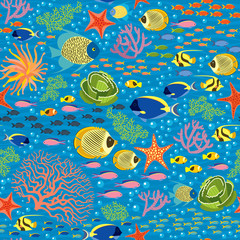 Underwater Fishes - Seamless Pattern