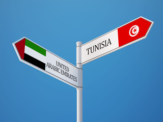 Tunisia United Arab Emirates.  Sign Flags Concept