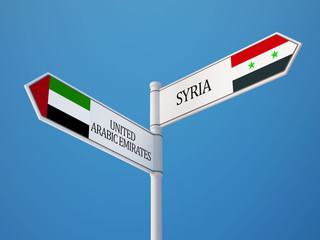 Syria United Arab Emirates.  Sign Flags Concept