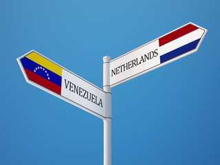 Venezuela Netherlands  Sign Flags Concept