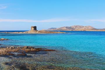 Beautiful La Pelosa beach in Sardinia, Italy