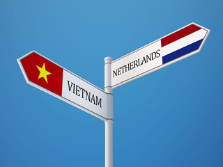 Vietnam Netherlands  Sign Flags Concept