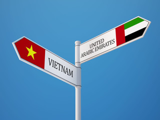 Vietnam United Arab Emirates.  Sign Flags Concept
