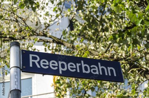 canvas print picture Strassenschild Reeperbahn Hamburg