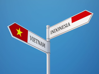 Indonesia Vietnam  Sign Flags Concept