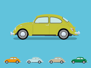 Vintage Volkswagen Beetle Vector Illustration