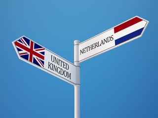 United Kingdom Netherlands  Sign Flags Concept
