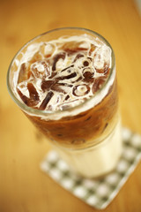 close up cold coffee on table