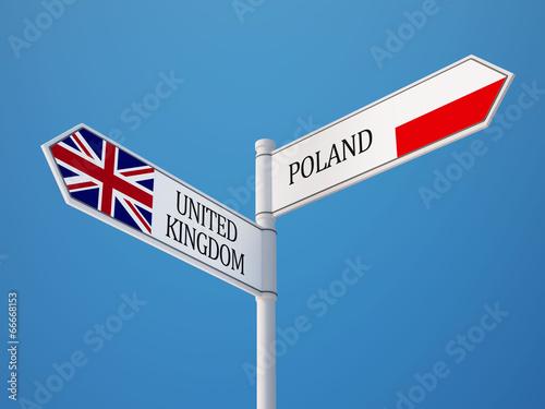 Poland United Kingdom  Sign Flags Concept