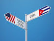 United States Cuba  Sign Flags Concept