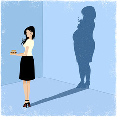 Slim woman casting fat woman shadow