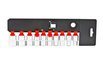Torx Socket set for spanner on white background