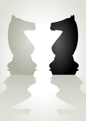 Illustration of a chess pieces, white knight facing black knight