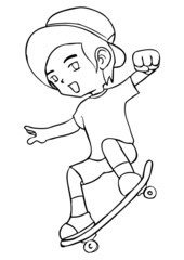Line-art illustration of a boy playing skateboard