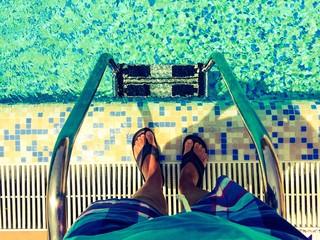 Man on a pool