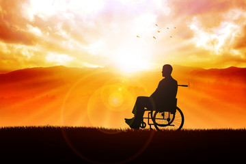 A person on wheelchair in the outdoor