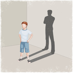 Child casting shadow of young man