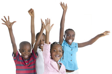 Four happy african kids cheering