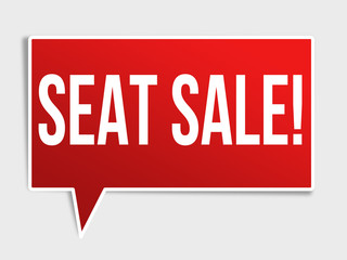 Seat sale red speech bubble