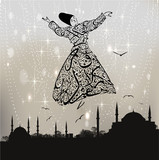 calligraphy dervish and istanbul mosques poster