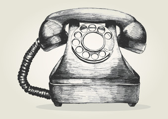 Sketch illustration of a vintage telephone