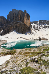 Dolomites - Pisciadù lake and peak