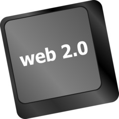 web 2 0 rss or blog  with internet computer key on keyboard