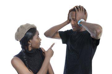 Young african couple quarreling