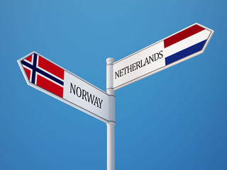 Norway Netherlands  Sign Flags Concept