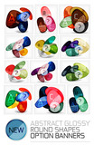 Abstract vector glossy round shape banners