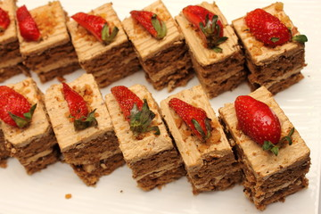coffee cake with strawberry on top