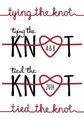 tying the knot, wedding invitation, vector set