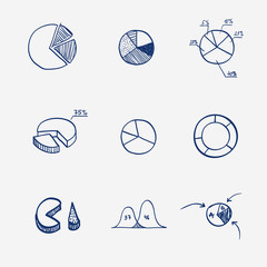 Set of circle chart diagram graph pie hand draw. Concept -