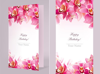 Stylish birthday card with orchid