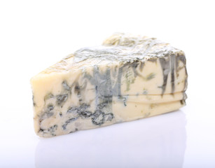 Piece on blue cheese with mold