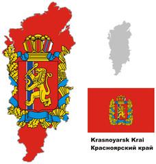 outline map of Krasnoyarsk Krai with flag