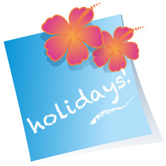 holidays hibiscus post-it vector