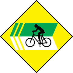 Turn Left Bicycle Sign Label