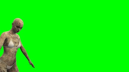 walking dead zombie girl walks - green screen