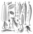 Vector illustration of artificial fishing lures