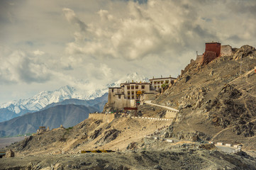 View on Spituk buddhist monastery Leh, Ladakh.