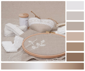 Sewing And Embroidery Craft Kit. Natural Linen Background. Palet