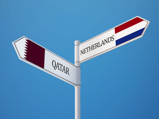 Qatar Netherlands  Sign Flags Concept