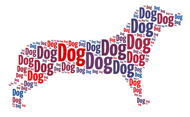 Words illustration of dog on isolated white background