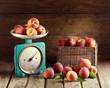 Still life with fresh peaches