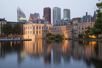 Evening view on Binnenhof Palace