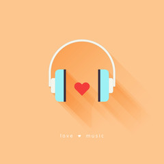 Headphone with heart. Love music.