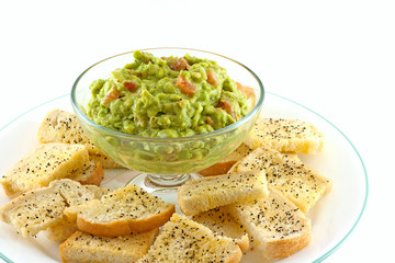 Homemade Guacamole With Fresh Made Crostini's